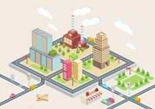 Vue isométrique, une grande ville illustration stock