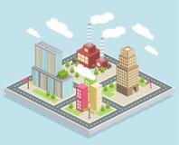 Vue isométrique, une petite ville illustration de vecteur