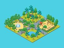Vue isométrique verte du concept 3d de parc de ville Vecteur Photos libres de droits