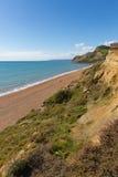 Vue jurassique Eype Angleterre R-U de côte de Dorset au sud de Bridport et de baie occidentale proche Photographie stock