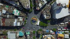 vue 4K aérienne de rond point chez Chinatown Bangkok clips vidéos