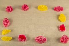 Vue la sucrerie colorée de gelée, gelée sur la toile Images libres de droits