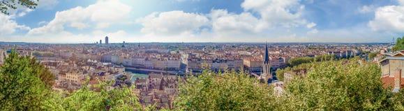 Vue large énorme de panorama de la ville, Lyon, France Image stock