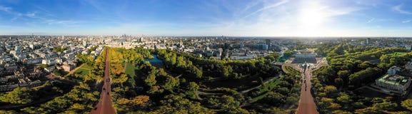 Vue large de panorama de 360 degrés de Londres d'horizon aérien de ville images libres de droits