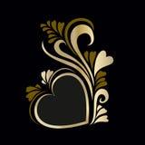 Vue le jour de luxe du ` s de Valentine de coeur d'or Photographie stock libre de droits