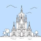 Vue Logo Icon Thin Line de bâtiment de chapelle d'église Images libres de droits