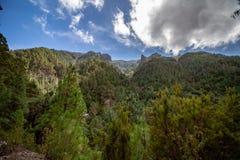 Vue lointaine au-dessus d'une forêt sur des formations de roche images stock