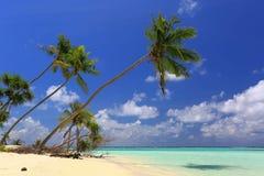 Vue magnifique de l'Océan Indien, Maldives Plage blanche de sable, eau de turquoise, ciel bleu et nuages blancs photographie stock libre de droits