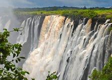 Vue majestueuse avec Victoria Falls (Afrique du Sud) Image libre de droits