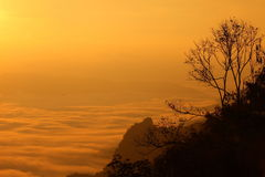 Vue majestueuse des silhouettes des montagnes et des bas nuages au lever de soleil coloré photos libres de droits