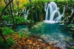 Vue majestueuse sur l'eau de turquoise et faisceaux ensoleillés en parc national de lacs Plitvice Croatie Photographie stock