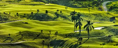 Vue merveilleuse de champ de golf, Bogor Indonésie Photo stock