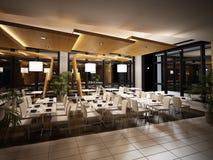 Vue moderne d'intérieur de restaurant. Photos libres de droits