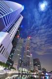 Vue moderne de nuit de ville de Singapour Images stock