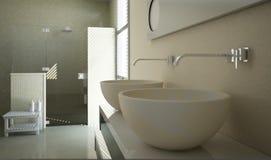 Vue moderne de salle de bains avec la fin vers le haut sur les bassins Images libres de droits