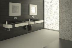 Vue moderne de salle de bains avec une grande glace décorée Image stock