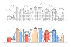 Vue moderne linéaire de ville de noir et de couleur illustration de vecteur