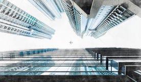 Vue moderne panoramique de bâtiment de paysage urbain d'illustration tirée par la main de croquis de mélange de Hong Kong illustration de vecteur