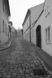 Vue monochromatique de vieilles rues de Prague. Photos stock