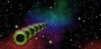 Vue mystérieuse D'oeil magique Examination panoramique l'espace lointain Ciel nocturne foncé complètement des étoiles Image stock