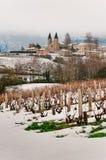 Vue neigée du Vermont, Beaujolais, France Photos stock