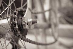 Vue noire et blanche de bicyclette de couleur de chaîne de roue arrière, style de vintage Photos libres de droits