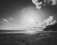 Vue noire et blanche sur la plage de Varkala photos libres de droits