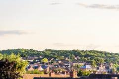 Vue nuageuse de paysage urbain de jour de Northampton R-U Photographie stock libre de droits