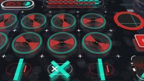 Vue olographe 4 d'animation de panneau d'interface clips vidéos
