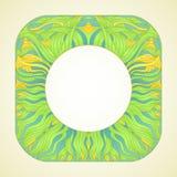 Vue ou vignette avec les iris jaunes Panneaux en verre souillé Grandes fleurs et petits iris de bourgeons Image libre de droits