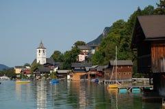 Vue panoramique à la rue Wolfgang, Autriche Photos stock