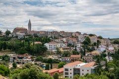 Vue panoramique à la vieille ville croate Vrsar Photo stock