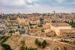 Vue panoramique à la vieille ville de Jérusalem images stock