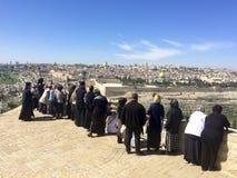 Vue panoramique à la vieille ville de Jérusalem Photo stock