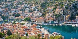 Vue panoramique aérienne de Symi, île de Dodecanese, Grèce Photographie stock