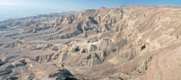 Vue panoramique au-dessus d'arava de désert de Judaean vally près d'Eilat, Israël Image libre de droits