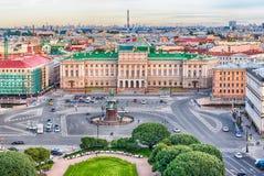 Vue panoramique au-dessus de St Petersburg, Russie, de chat de St Isaac photo libre de droits