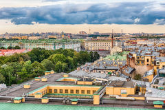 Vue panoramique au-dessus de St Petersburg, Russie, de chat de St Isaac Photo stock