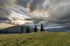 Vue panoramique d'été, vallée herbeuse verte sur le fond boisé éloigné de montagnes sous le ciel nuageux photographie stock libre de droits
