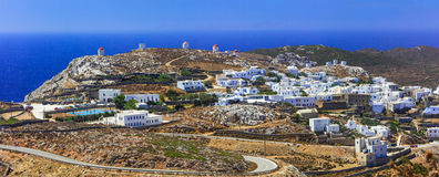 Vue panoramique d'île d'Amorgos de village de Chora La Grèce, Cyclade image stock