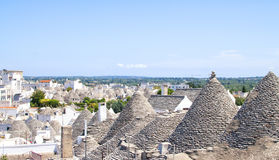Vue panoramique d'Alberobello, Pouilles, Italie Photos libres de droits