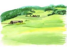 Vue panoramique d'Alpes Illustration d'aquarelle illustration libre de droits