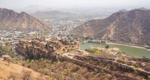 Vue panoramique d'Amer Fort dans l'Inde de Jaipur Photos libres de droits