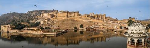 Vue panoramique d'Amer Fort, Jaipur, Ràjasthàn, Inde Photographie stock libre de droits