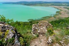 Vue panoramique d'Arial du Lac Balaton de Tihany photographie stock