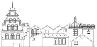 Vue panoramique d'ensemble des maisons Découpe de vecteur du vieux paysage urbain de ville illustration libre de droits