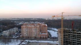 Vue panoramique d'hiver de ville banque de vidéos