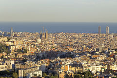 Vue panoramique d'horizon de Barcelone Images libres de droits