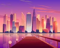 Vue panoramique d'horizon de ville de pilier de bord de mer illustration libre de droits