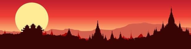 Vue panoramique d'illustration de Bagan dans Myanmar illustration libre de droits